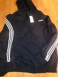New With Tag ADIDAS Hoodie 5XL BIG Mens Full Zip Sweatshirt  Navy Blue E3S FZ FL
