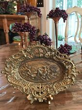 Vintage Cast Iron Embossed Tray Plaque