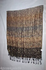Womens Fashion Scarf Bronze Silver Black Gold Sparkle Leopard Spot Fringed 28x68