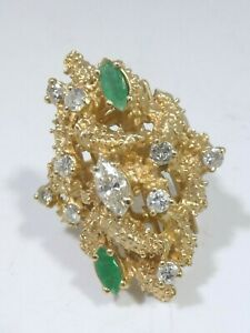 1970'S CHUNKY BRUTALIST 14K GOLD, DIAMOND AND EMERALD RING SIZE 7 / 12.1 DWT
