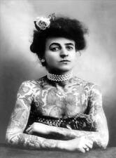 TATTOOED WOMAN, Vintage Freak Show Reproduction Rolled CANVAS PRINT 24x31 in.
