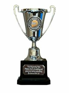 Motor Sport Helmet Silver Moment Cup Sports Award Trophy E) ENGRAVED FREE