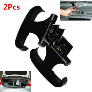 2Pcs Black Multifunction Folding Car Trunk Hook Organizer Horns Hanging Fishing