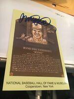 Ryne Sandberg Chicago Cubs Signed Hall of Fame Postcard COA