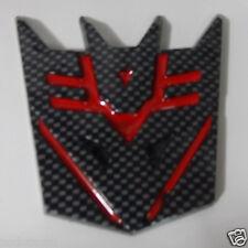 Car Transformers Decepticon RED Carbon Fiber Trunk Emblem Badge Sticker