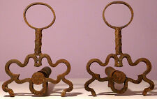 VINTAGE FIREPLACE ANDIRONS RUSTIC WROUGHT IRON OLD HANDMADE FOLK ART