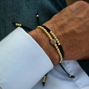 Bracelet Handmade Set Men Adjustable Bracelets Gold
