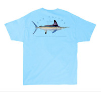 Guy Harvey Clipper Pocket Fishing Boat S/S Fish T-shirt....Small....Pool Blue