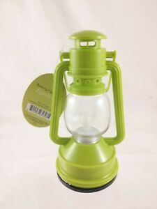 """Enchanted Garden Green Plastic Lantern Built-in Candle Flame Battery Light 6""""T"""