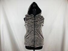 Widgeon Nordstorm  Women's Faux Fur Stripes Black White Vest Hood XL