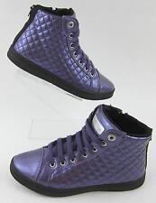 Geox Respira Hi Top Sneakers Purple Patent Leather Sz 36 EU /  6 US / 4 Juniors