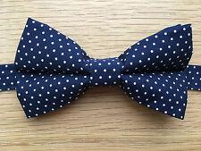 Bow Tie | Funky Handmade Navy Blue Polka Dot Bow Tie | White Spot | Pre-tied