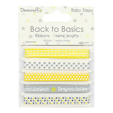 Baby Steps Ribbon Lemon & Grey Dovecraft Basics 3 Pack Scrapbooking Card Craft