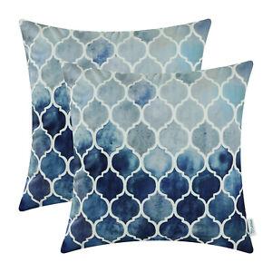 "2Pcs Grey Navy Cushion Covers Pillow Shells Case Chains Sofa Home Decor 22 x 22"""