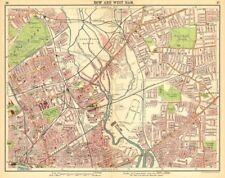 LONDON E. Bow West Ham Bromley Stratford Plaistow Poplar Canning Town 1921 map