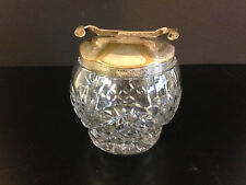 Antique Crystal Sugar Bowl,  with Silver Lid Tongs under lid to pick up cubes.