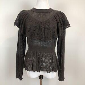Lia Molly Ruffle Sheer Crochet Knit Sweater Grannycore Cottagecore Large