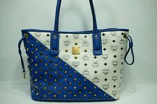 100% Authentic MCM Blue White Blue Studded *Limited Ed* Shopper Shoulder Bag