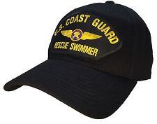 Coast Guard Rescue Swimmer Hat Black 100% Cotton STRUCTURED Ball Cap Veteran