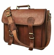 Womens Genuine Vintage Brown Leather Messenger Bag Shoulder Laptop Bag Briefcase