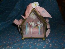 "Cute Crafted Bunnies in Bed Glass House Display About 5 1/4"" High Pink Backgroun"