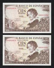 F.C. PAREJA CORRELATIVA 100 PESETAS 1965 , SERIE 1D , S/C- , PICO DOBLADO .