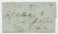 1846 Reading PA to Philadelphia stampless large blue R x2 registered [y5984]