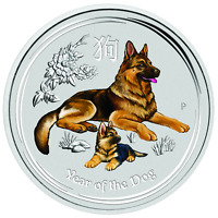 2018 Australia colorized Lunar Year of the Dog 1/4 oz Silver Bullion Coin