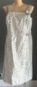 "Vintage 1960's Sparkly Silver ""Eyelash"" Fabric Sleeveless Sheath Dress Size 18"