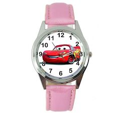 CARS CAR RACING PINK LEATHER FILM MOVIE CINEMA DVD FAIRY TALE STEEL WATCH GIFT