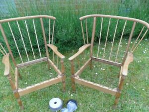 Pair of Vintage comb back low chairs Ercol style easy chair