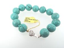 8.5 Inch Veined Turquoise Bracelet 14mm Beads with 14k White Gold Filigree Clasp