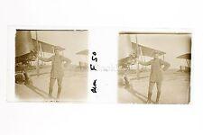 Pilote avec son avion de chasse F 50 France Plaque de verre positive 1915