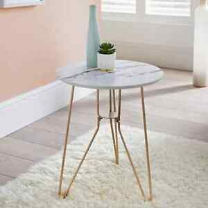 New Contemporary Patina Side Table Gold Finish Metal Legs & Marble Effect Top