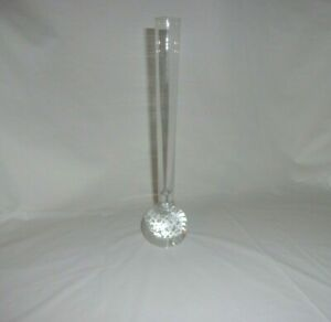 "9 3/4"" Clear Glass Rose Single Flower Vase ( Round Base ) PreOwned FREE SHIPPING"