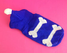 BLUE DOG JUMPER TOP PUPPY CLOTHES CHIHUAHUA YORKIE MALTESE TOY XS 18CM X SMALL