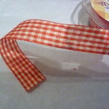 Gingham ribbon red and white 2cm wide 3m length cut from reel floristry crafts