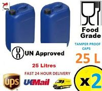 2 BLUE 25L Litre Plastic Water Storage Container Food Grade Drum Jerry Can Fuel
