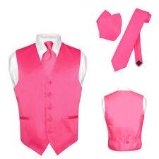 Men's Dress Vest NeckTie Hanky HOT PINK FUCHSIA Neck Tie Set for Suit or Tuxedo