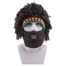 Men Boys Warm Knitted Wig Beard Hat Barbarian Looter Crochet Beanie Cap Winter