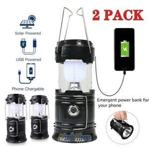 2 Pack USB Solar Portable LED Light Rechargeable Flashlight Lantern Camping Lamp