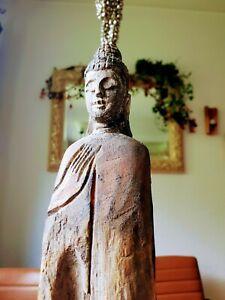 53cm Holz Buddha auf Metallsockel Treibholz geschnitzt Skulptur Figur Asien