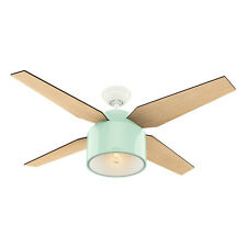 """Hunter Cranbrook 52"""" Home Ceiling Fan with LED Light and Remote Control, Mint"""