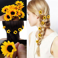 10 Pcs Yellow Sunflower Hair Pins Hair Clips Wedding Bridal Prom Hair Accessory