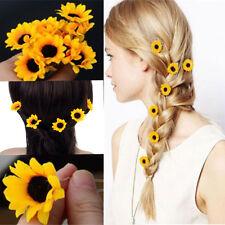 10 Pcs Yellow Sunflower Hair Pins Hair Clips Wedding Bridal Prom Hair Accessory