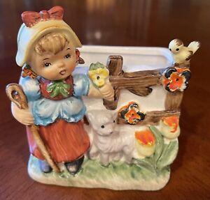 VTG- Head Vase- Planter- Young Girl Tending Her Sheep- Pigtails- Flowers- Japan