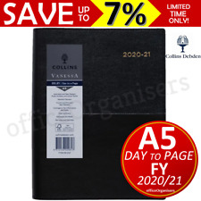 NEW Collins Vanessa 2020-2021 Financial Year FY Diary A5 Day to Page Black FY185