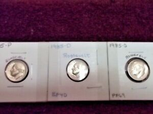 1985-P VERY FINE / 1985-D EXTRA FINE / 1985-S HIGH PROOF END ROOSEVELT DIMES