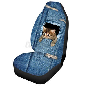 Auto Car SUV Truck Van Cat Front Seat Cover Set Universal Cushion Protector >