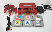 Nintendo 64 N64 Clear Red Console & Controller OEM Bundle Region Free 6 Games